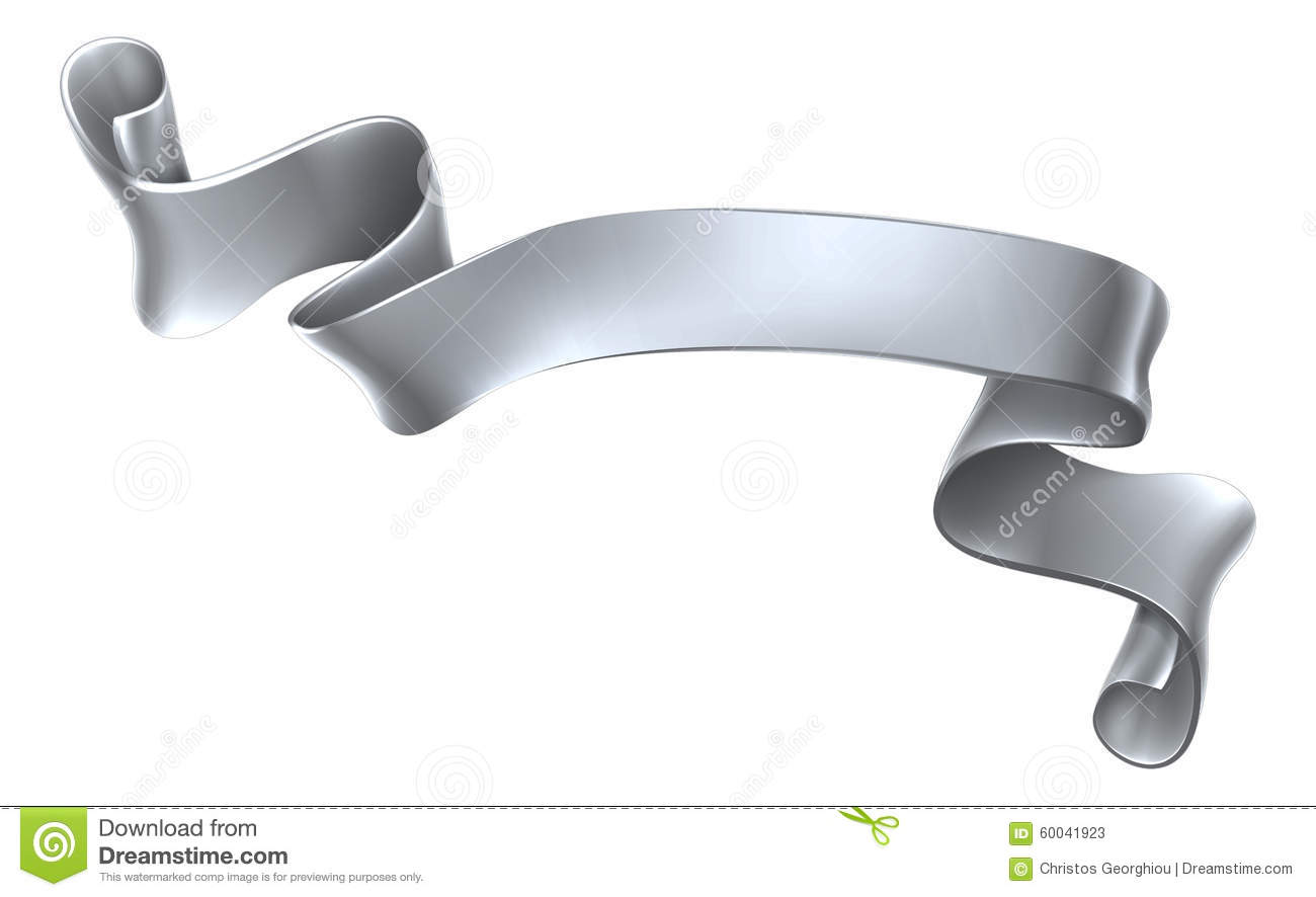 Silver Scroll Banner Stock Vector - Image: 60041923