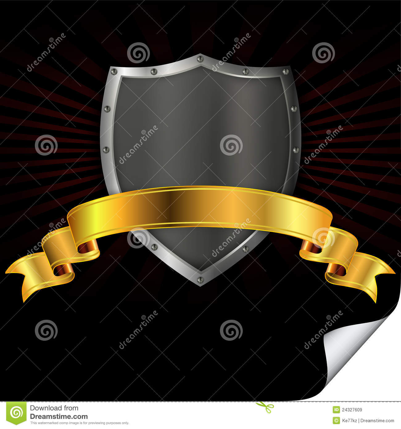 silver shield with gold ribbon royalty free stock images