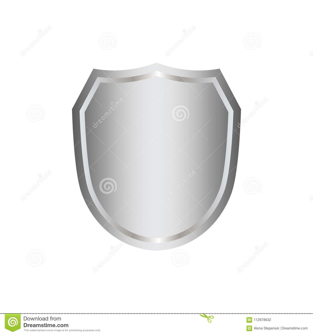 Silver shield shape icon. 3D gray emblem sign isolated on white background. Symbol of security, power, protection. Badge
