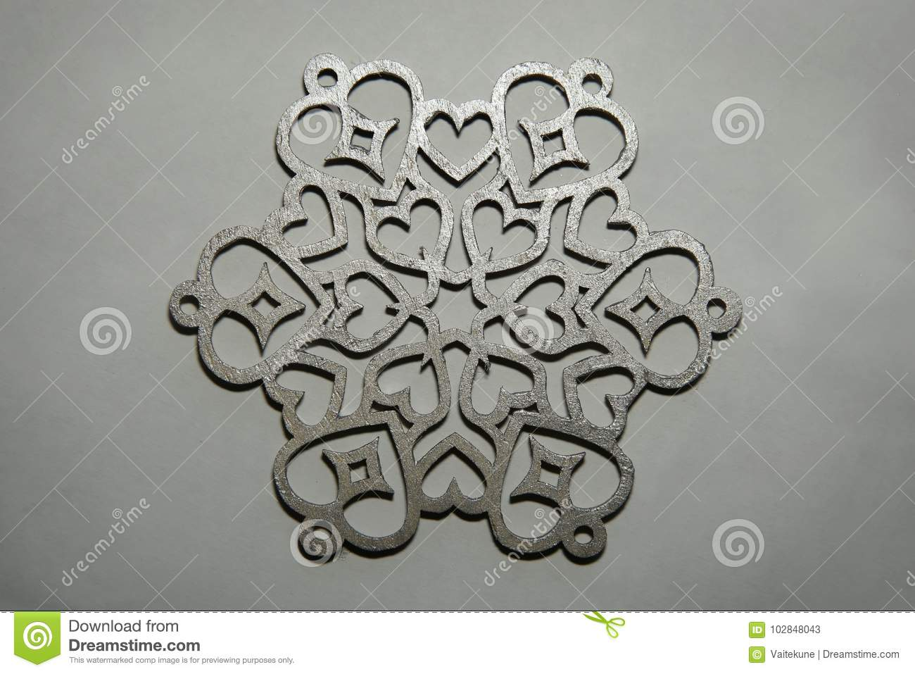 laser cut christmas decoration wood snowflake on silver painted background - Wooden Laser Cut Christmas Decorations