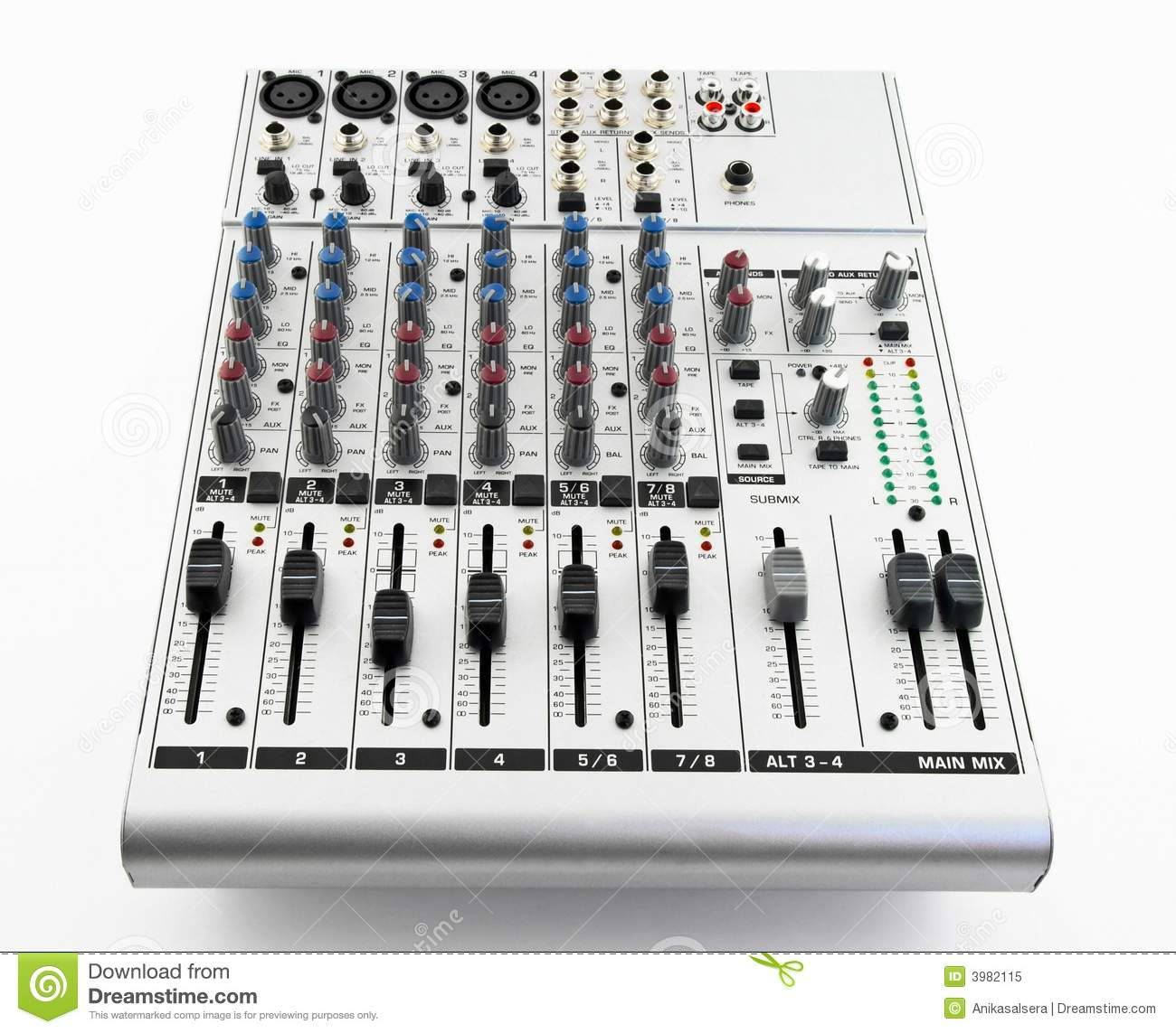 Silver Sound Mixer Royalty Free Stock Photo - Image: 3982115