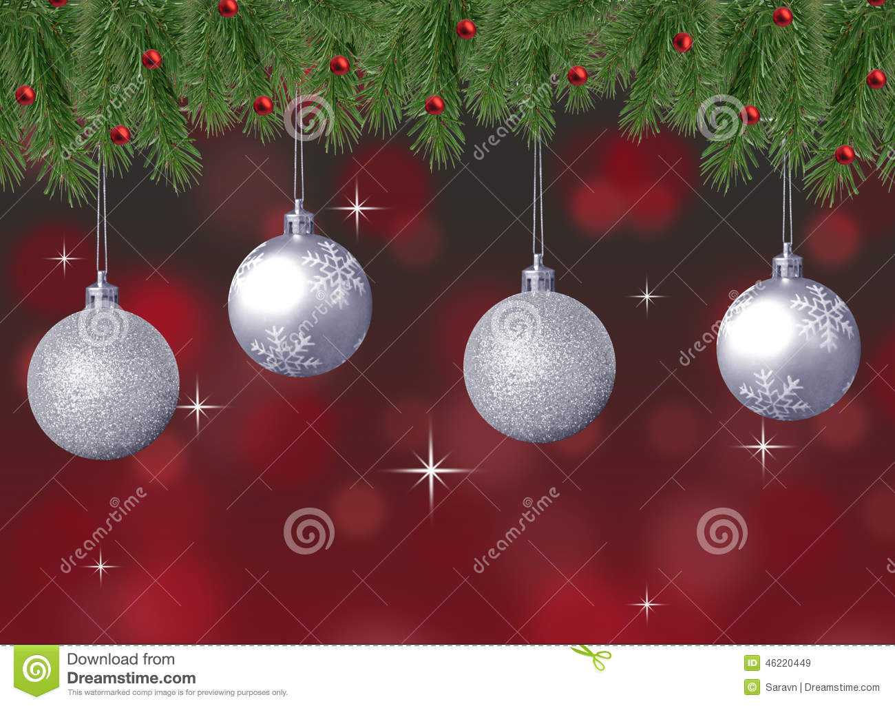 Silver sparkle and snowflake christmas balls with red
