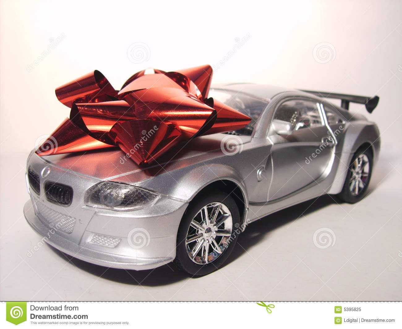 Expensive Car For Sale Or Gift Royalty Free Stock Image: Silver Sports Car Prize Royalty Free Stock Photo