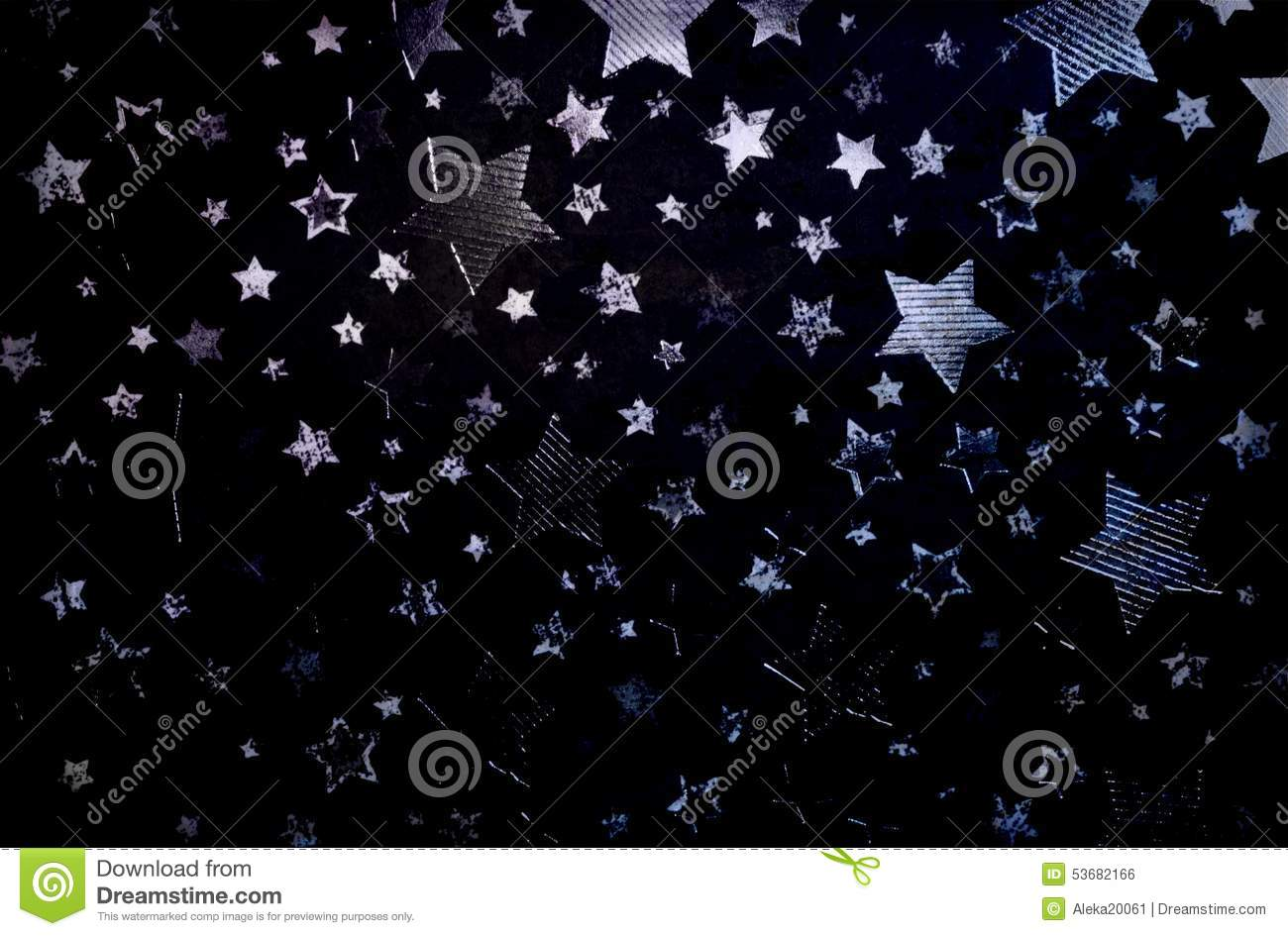 Silver Stars Scattered On A Black Background Stock Photo