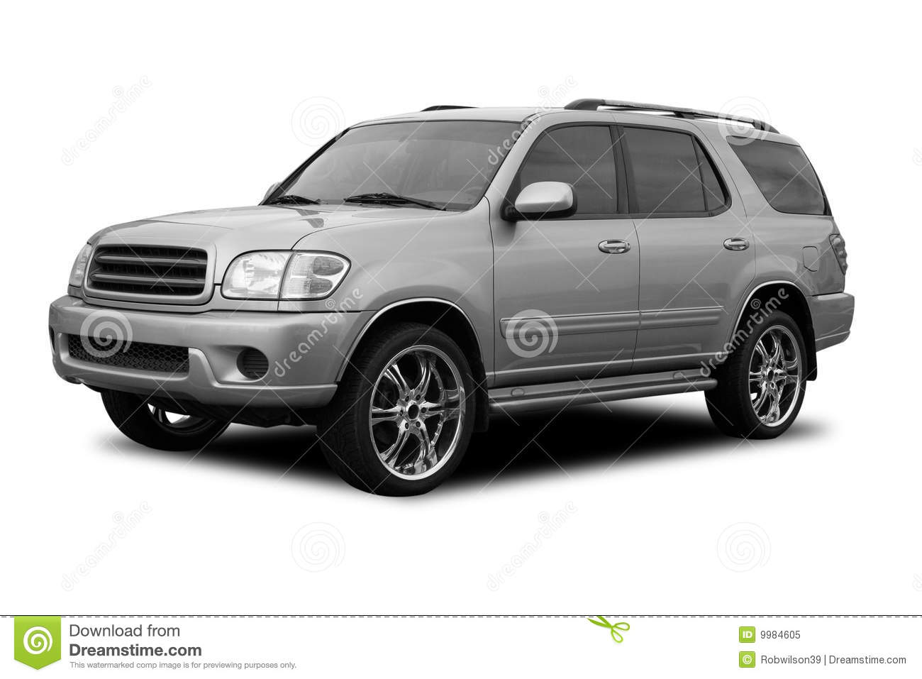 Silver Suv Stock Image Of Attractive Motor Fancy 9984605 Off Road Toyota Sequoia White With Decorative Wheels Isolated On A Background