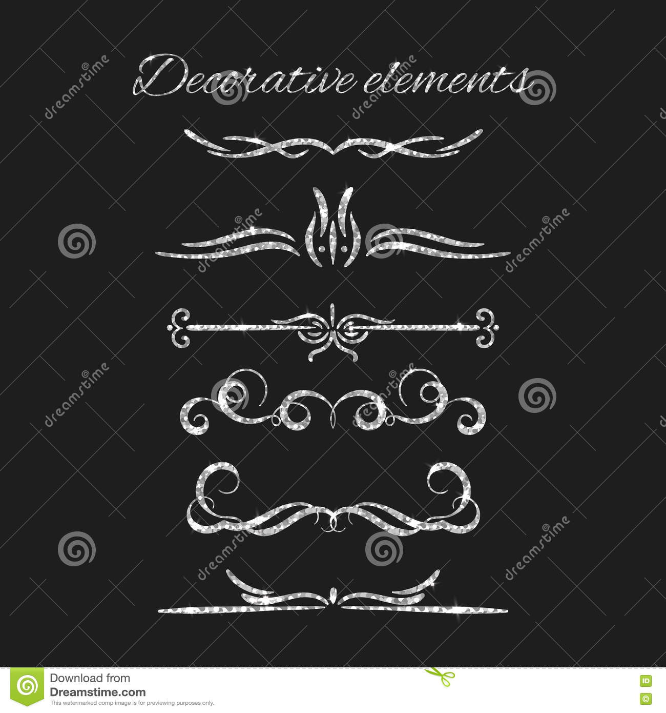 vector set of decorative vintage elements and flourishes cartoon vector. Black Bedroom Furniture Sets. Home Design Ideas