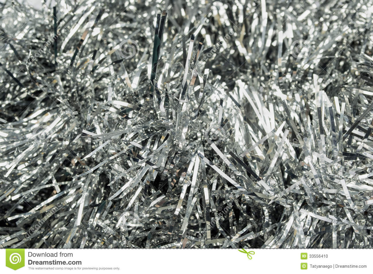 Silver Tinsel Stock Photo Image 33556410
