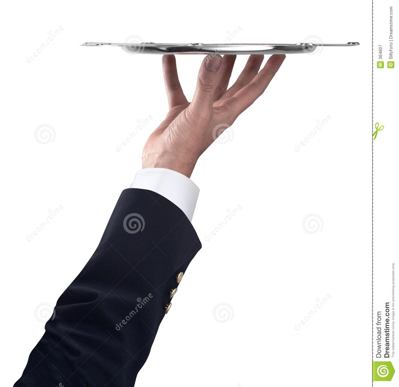 Silver tray with hand and arm royalty free stock photography image