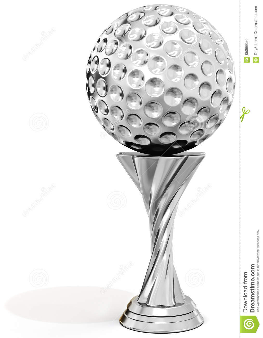Silver trophy with golf ball