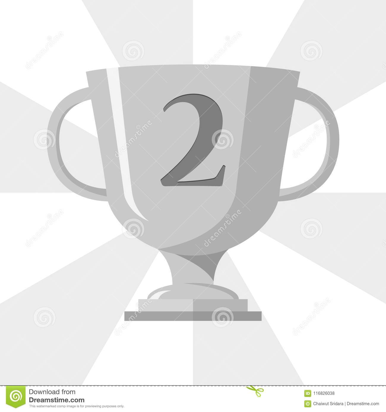 Silver Trophy Winner Cup With 2 Symbol On The Trophy Vector Stock