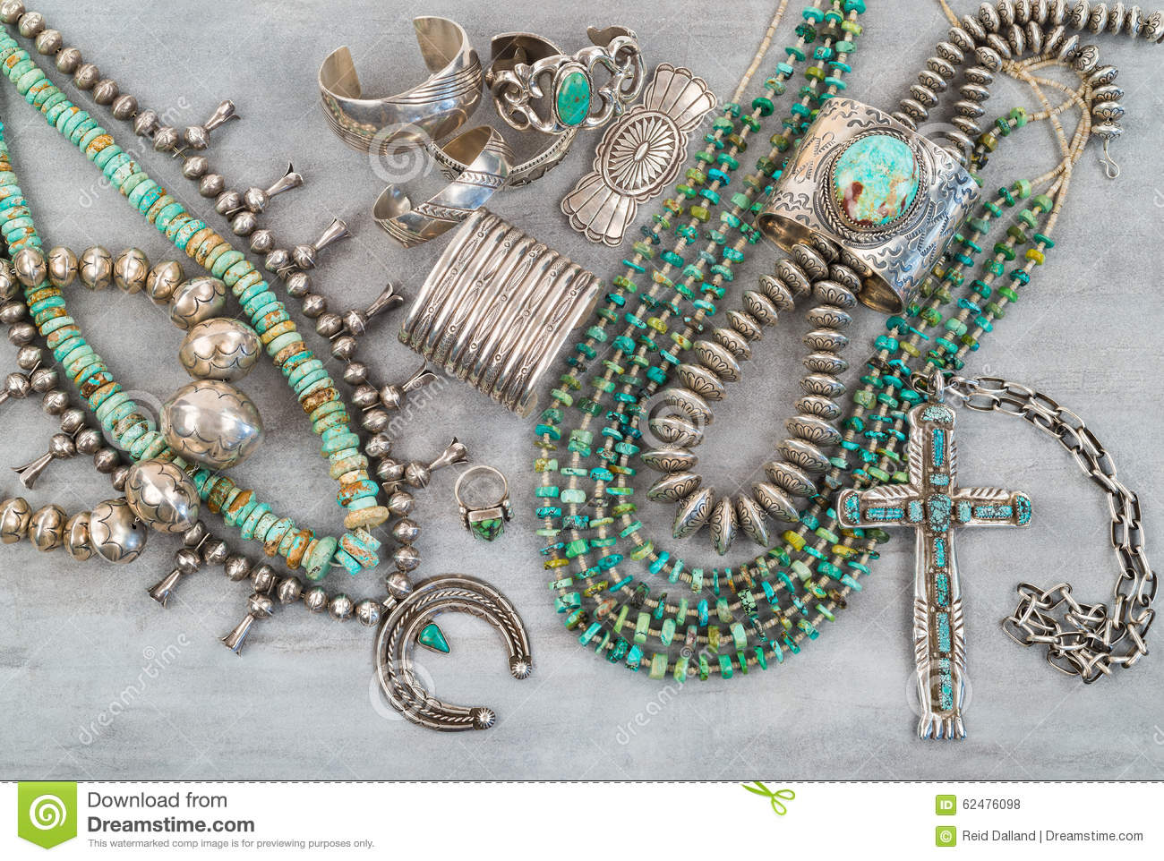 Silver And Turquoise Native American Jewelry Stock Photo