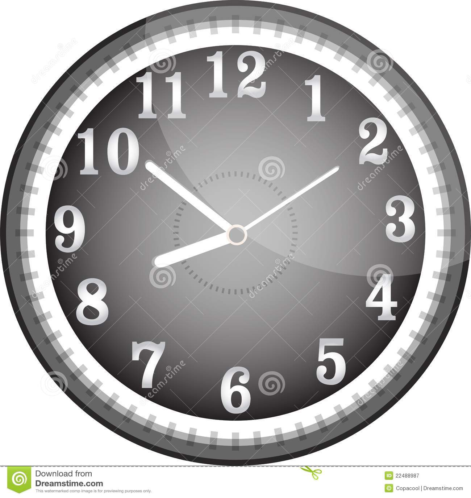 Silver Vector Wall Clock With Black Face Stock Vector