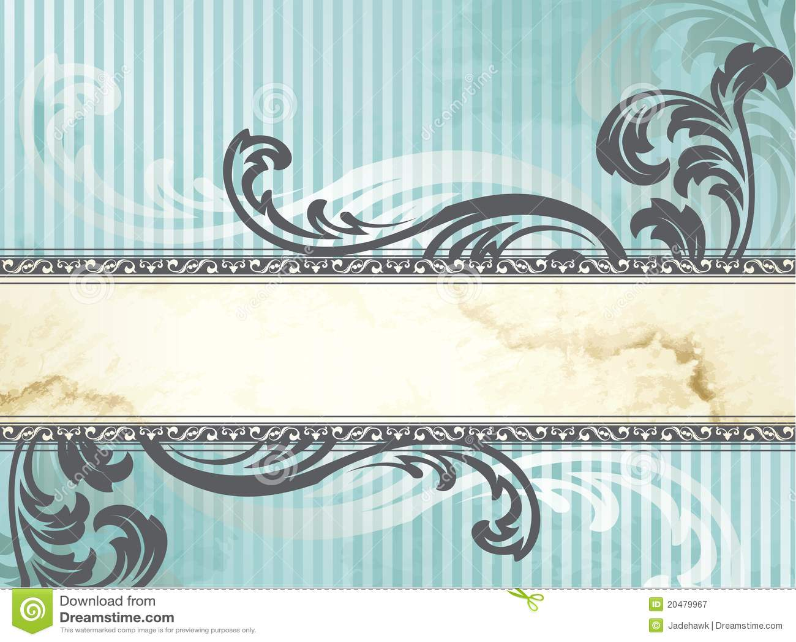 Silver Victorian Vintage Banner, Horizontal Stock Vector ...