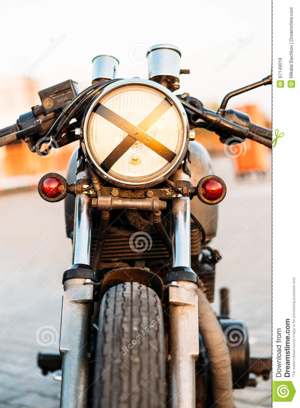 Silver Vintage Custom Motorcycle Cafe Racer Stock Photo