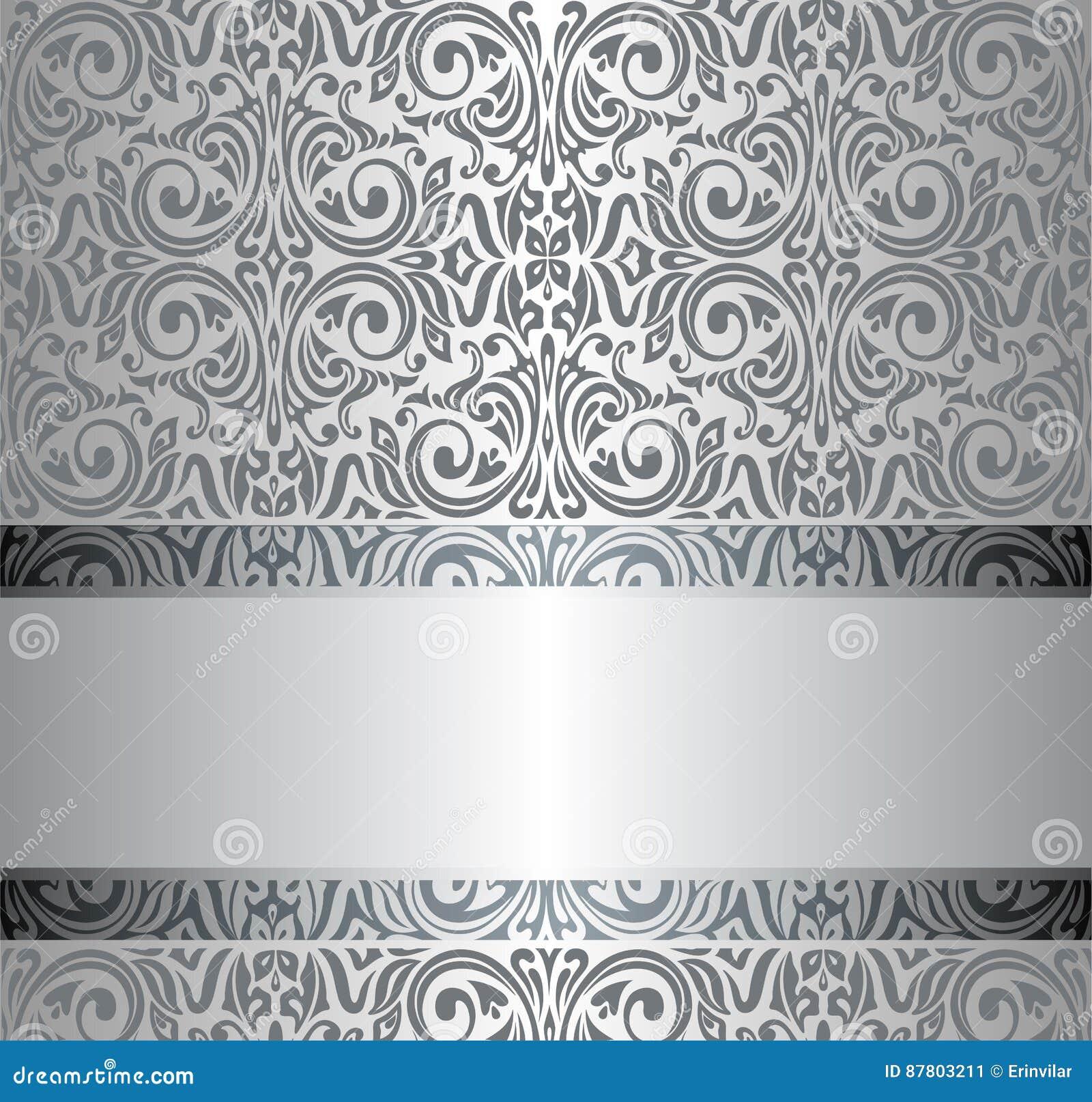 Silver vintage repetitive wallpaper design
