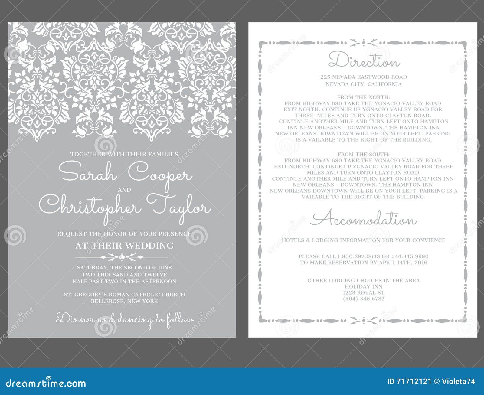 Silver Wedding Invitation Card Invitation With Ornaments Stock ...