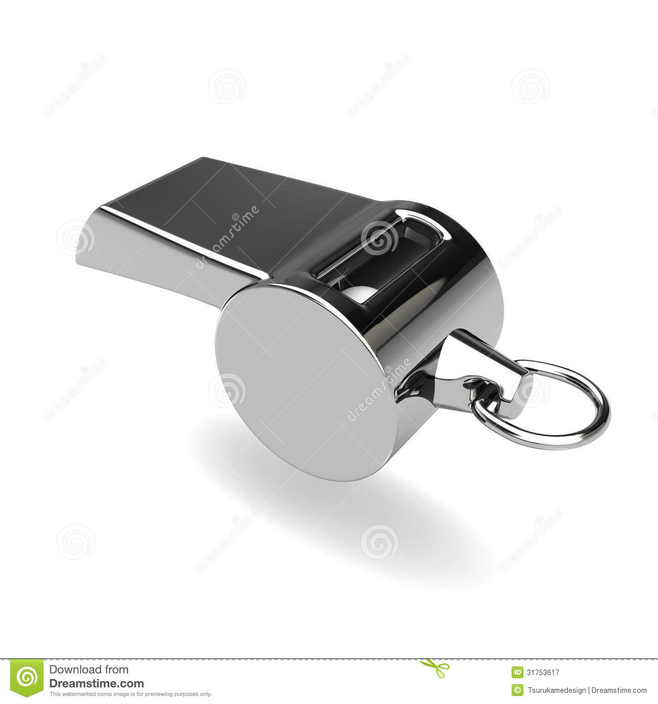 Silver Whistle Side View Royalty Free Cartoon