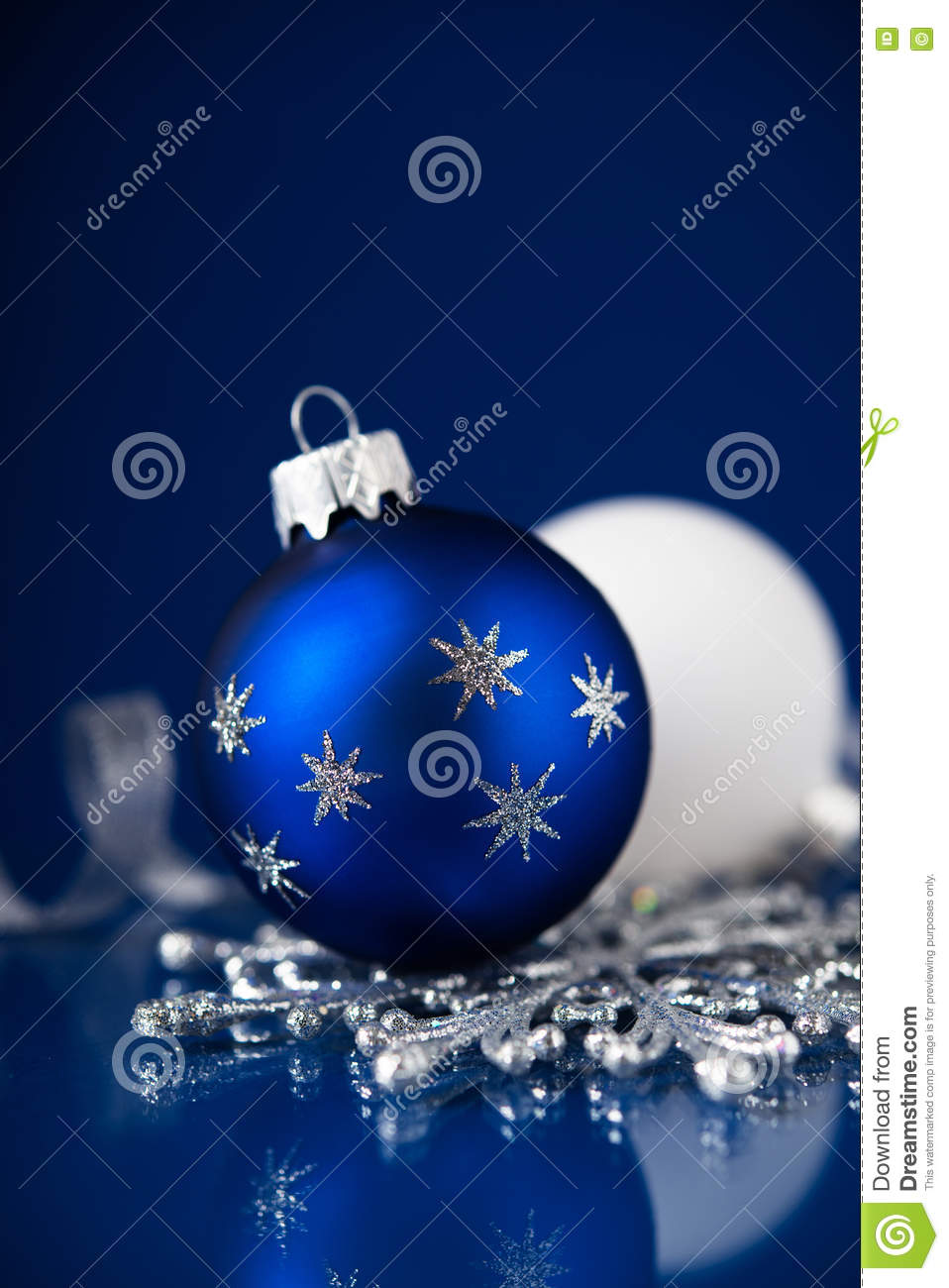 Red white and blue christmas ornaments - Silver White And Blue Christmas Ornaments On Dark Blue Background Merry Christmas Card