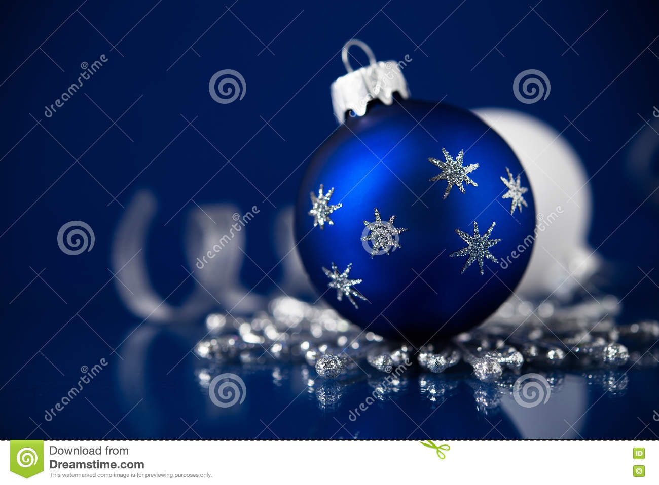 download silver white and blue christmas ornaments on dark blue background merry christmas card