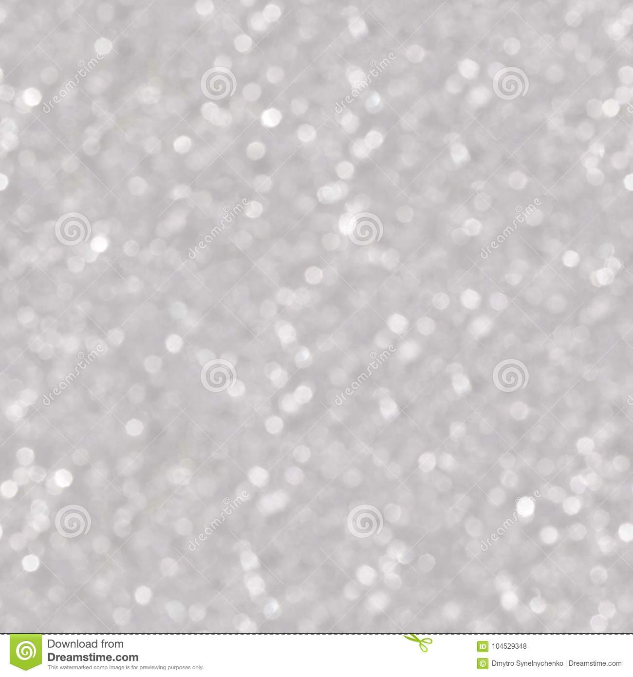 Silver and white bokeh lights. Seamless square texture.