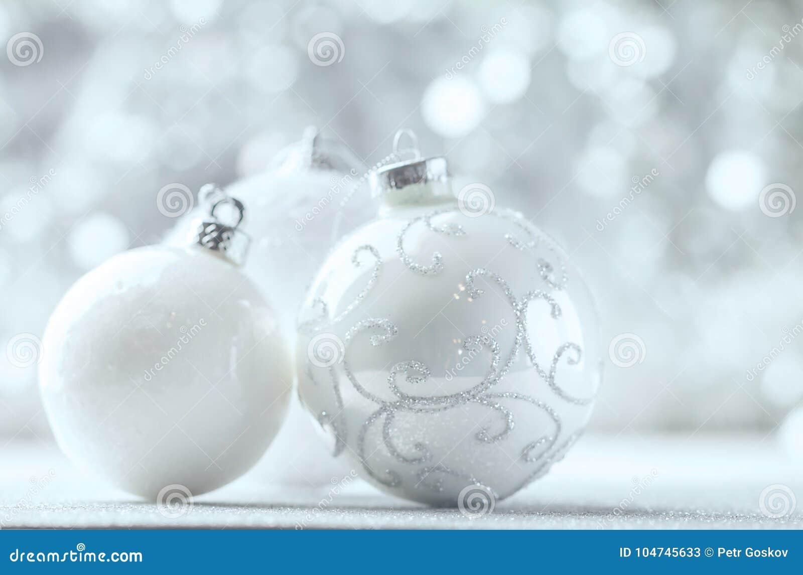 silver and white christmas balls - White Christmas Balls