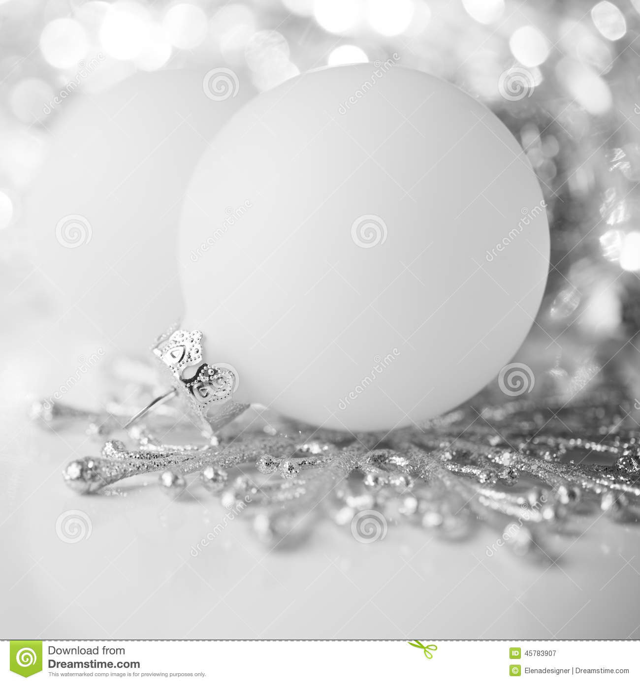 Silver and white christmas decoration on holiday background stock photo image 45783907 - Silver and white christmas ...
