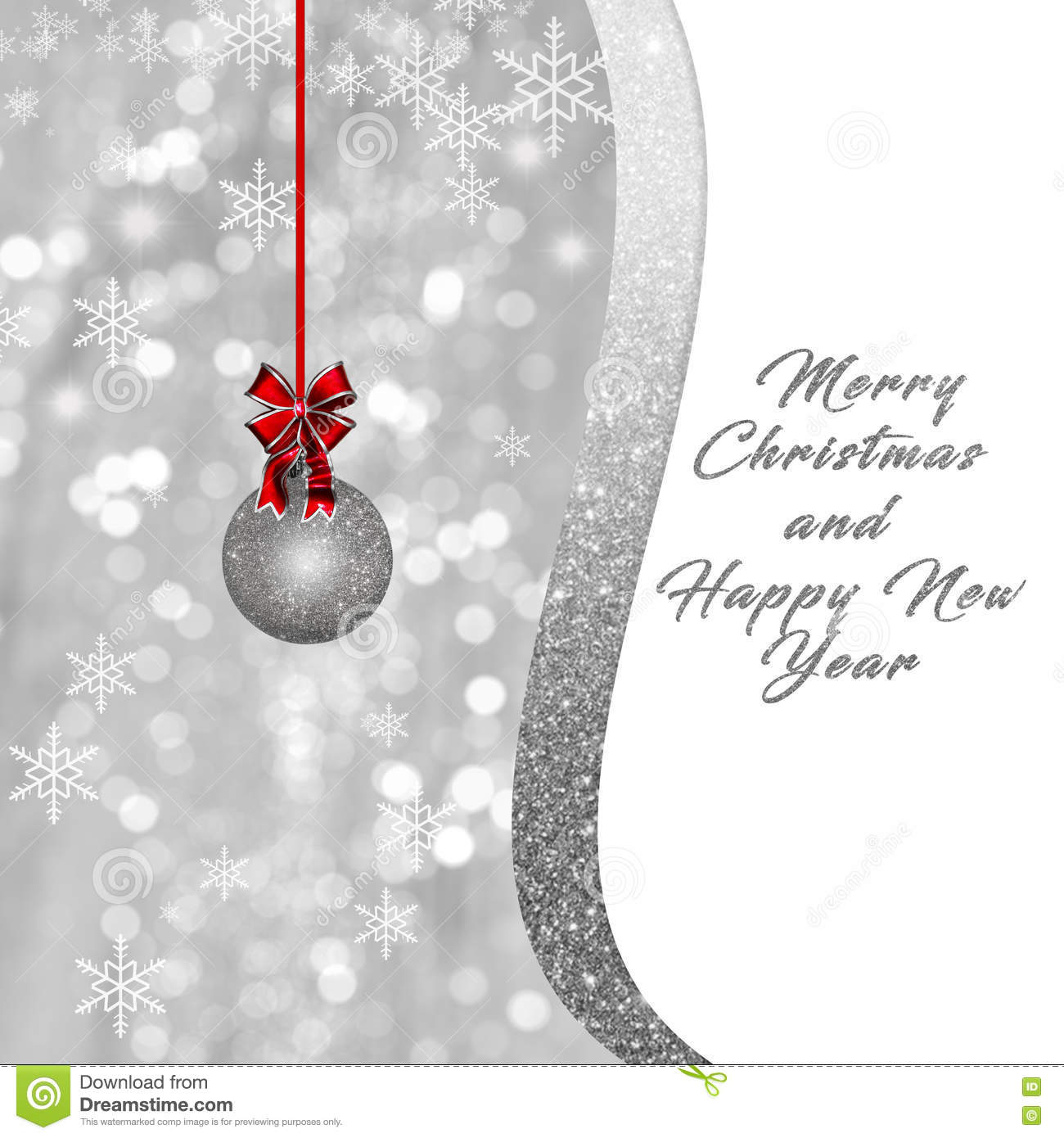 Silver White Christmas, New Year Background, Card Stock Illustration ...