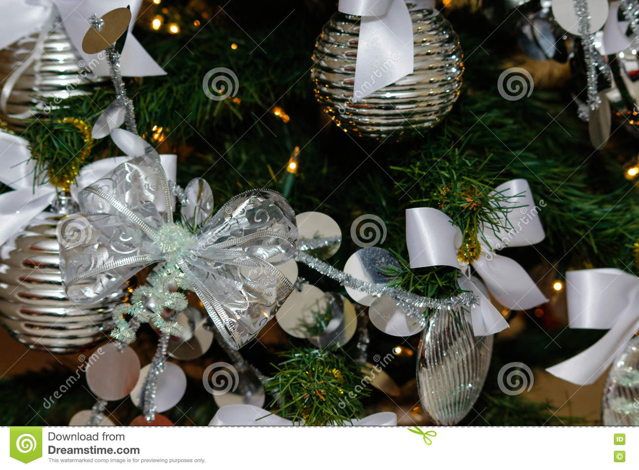 download silver and white christmas tree decorations stock photo image of christmas home