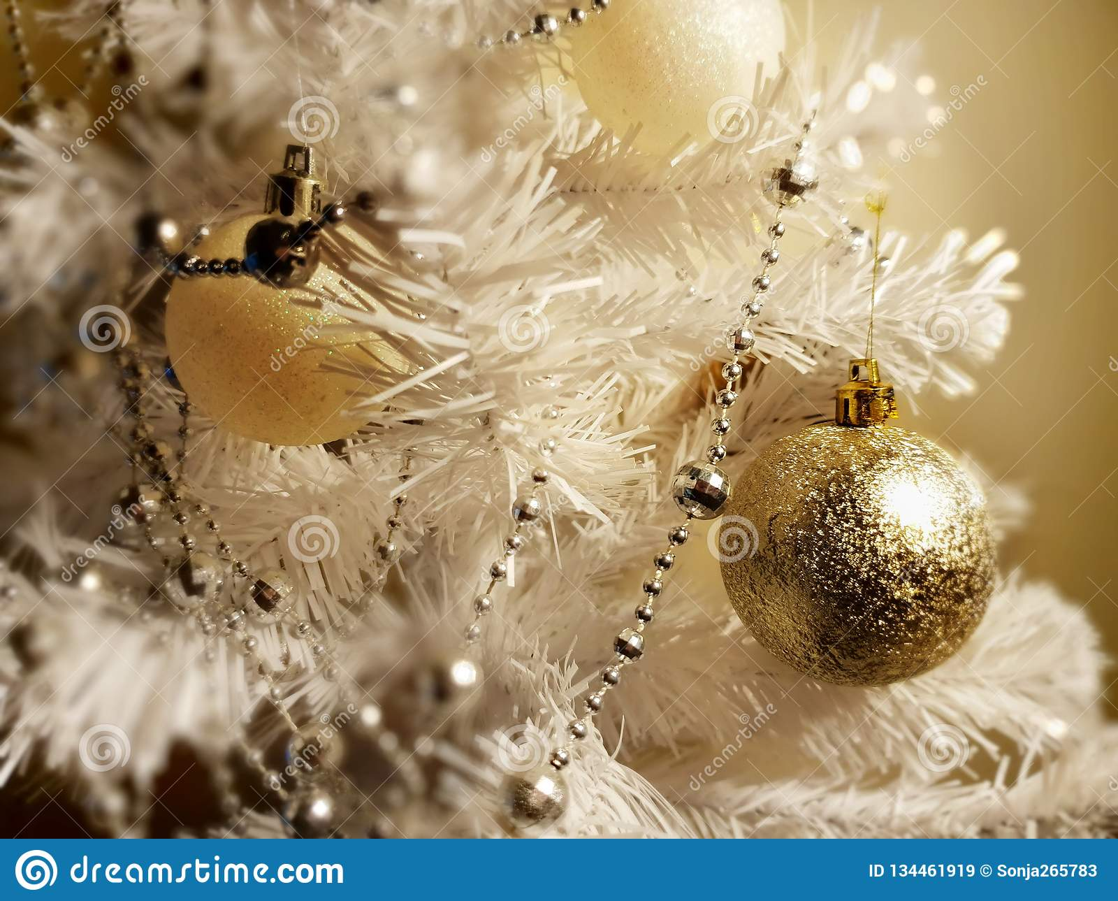 Silver White Gold Christmas Decoration Colorful Ideas Stock Image