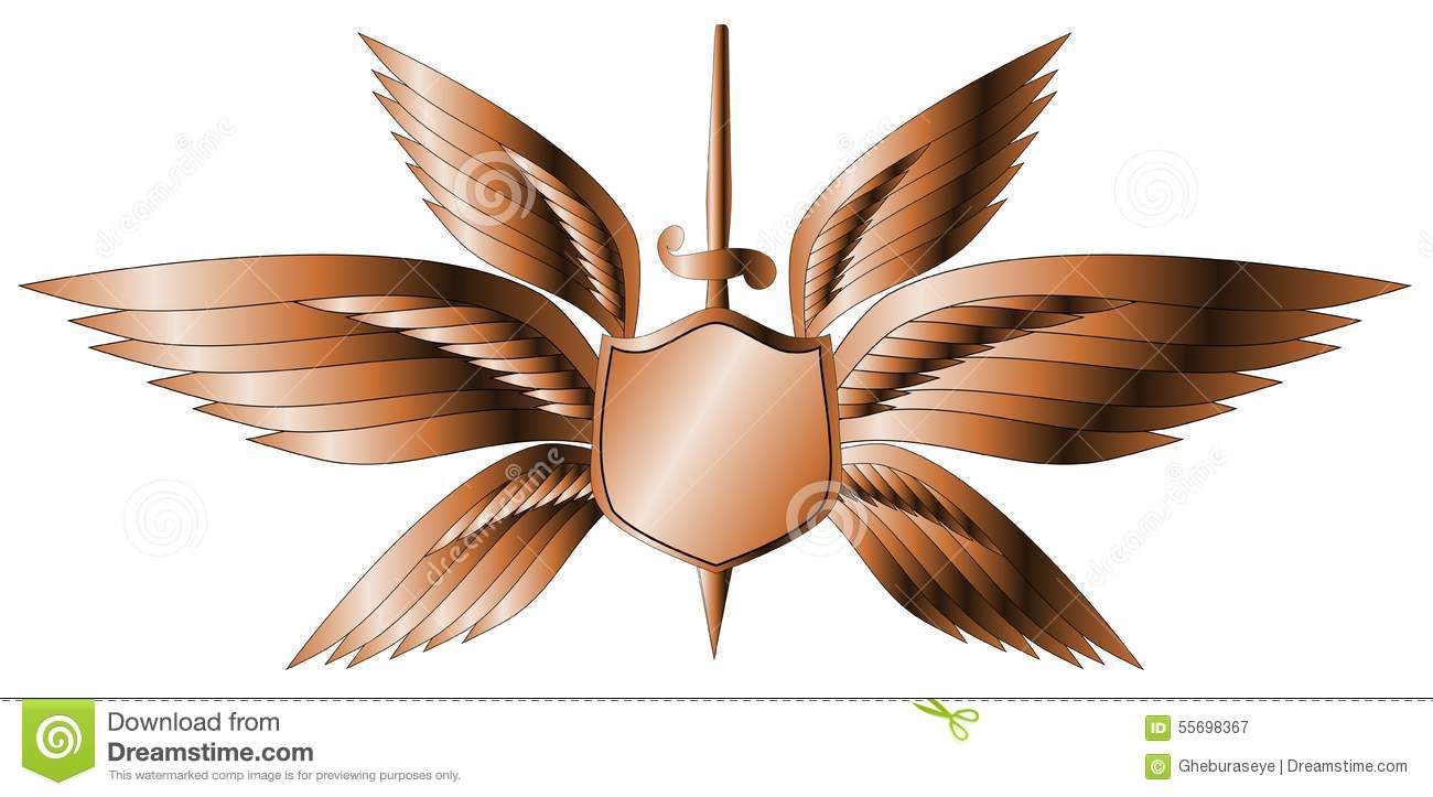Winged sword tattoo with barbed feathers. Black and white vector  illustration of a winged sword tattoo with barbed feathers