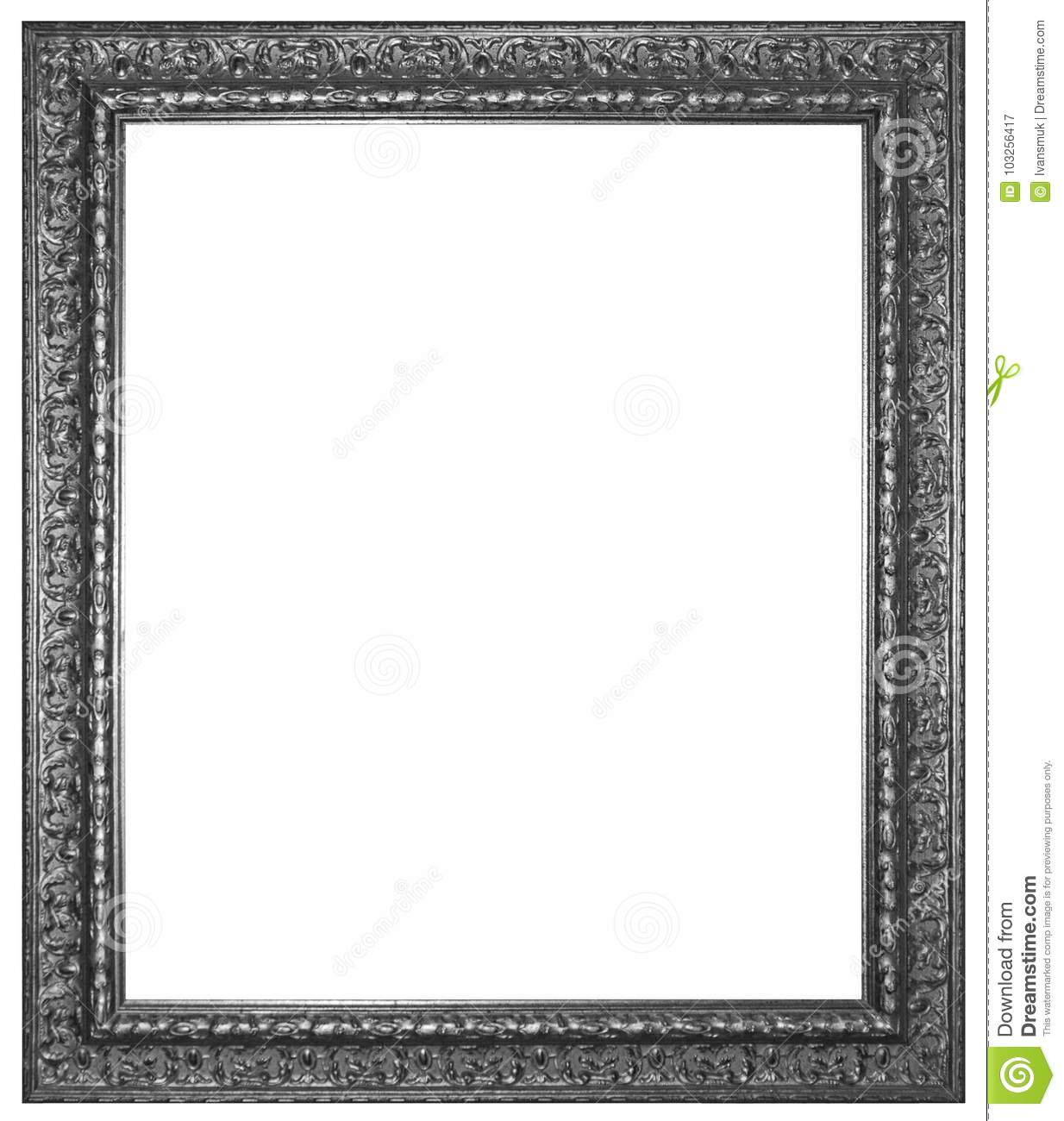 Silver Wooden Frame For Painting Or Picture Stock Image - Image of ...