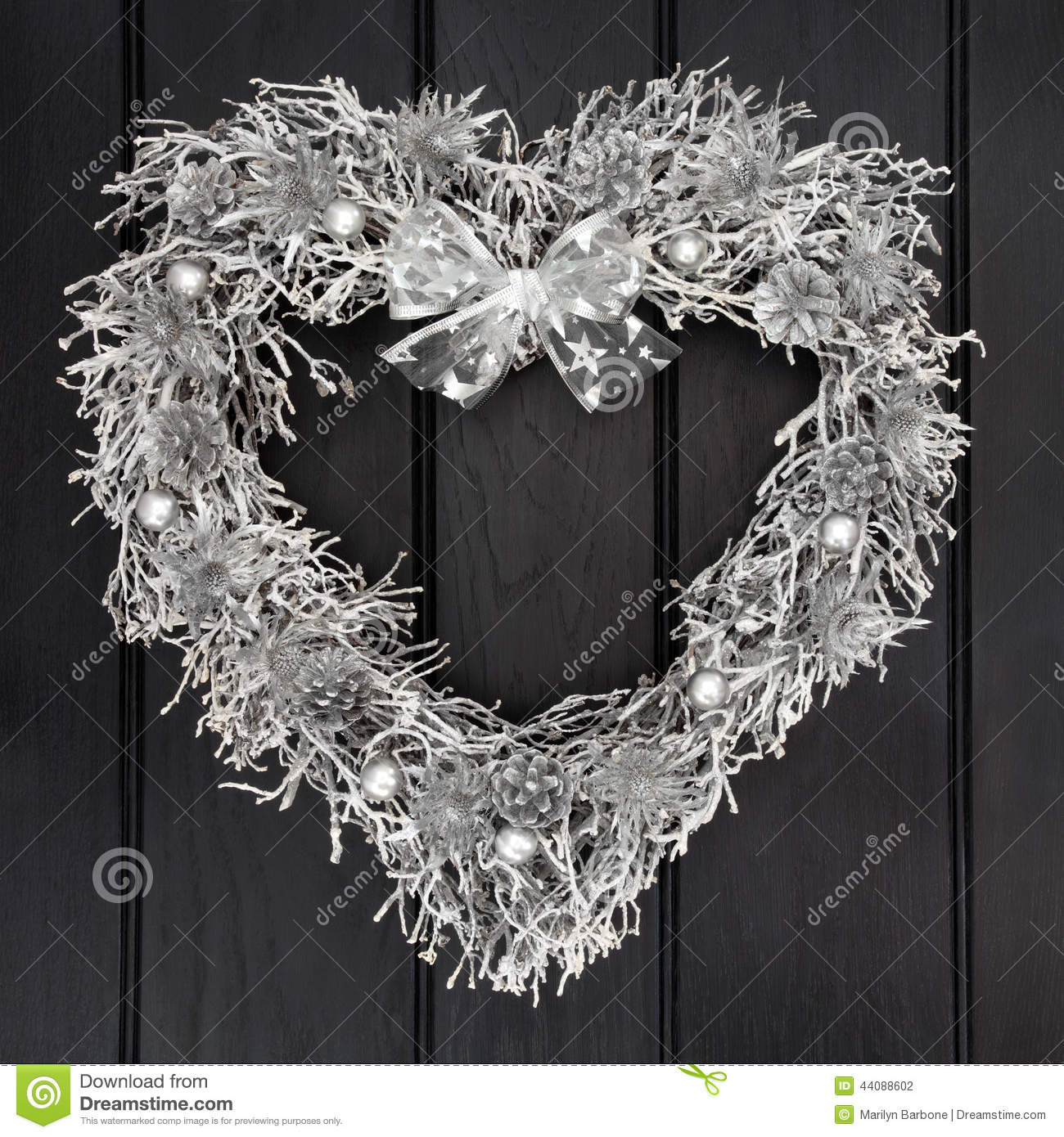 Silver Wreath Stock Photo Image Of Noel Front Bright 44088602