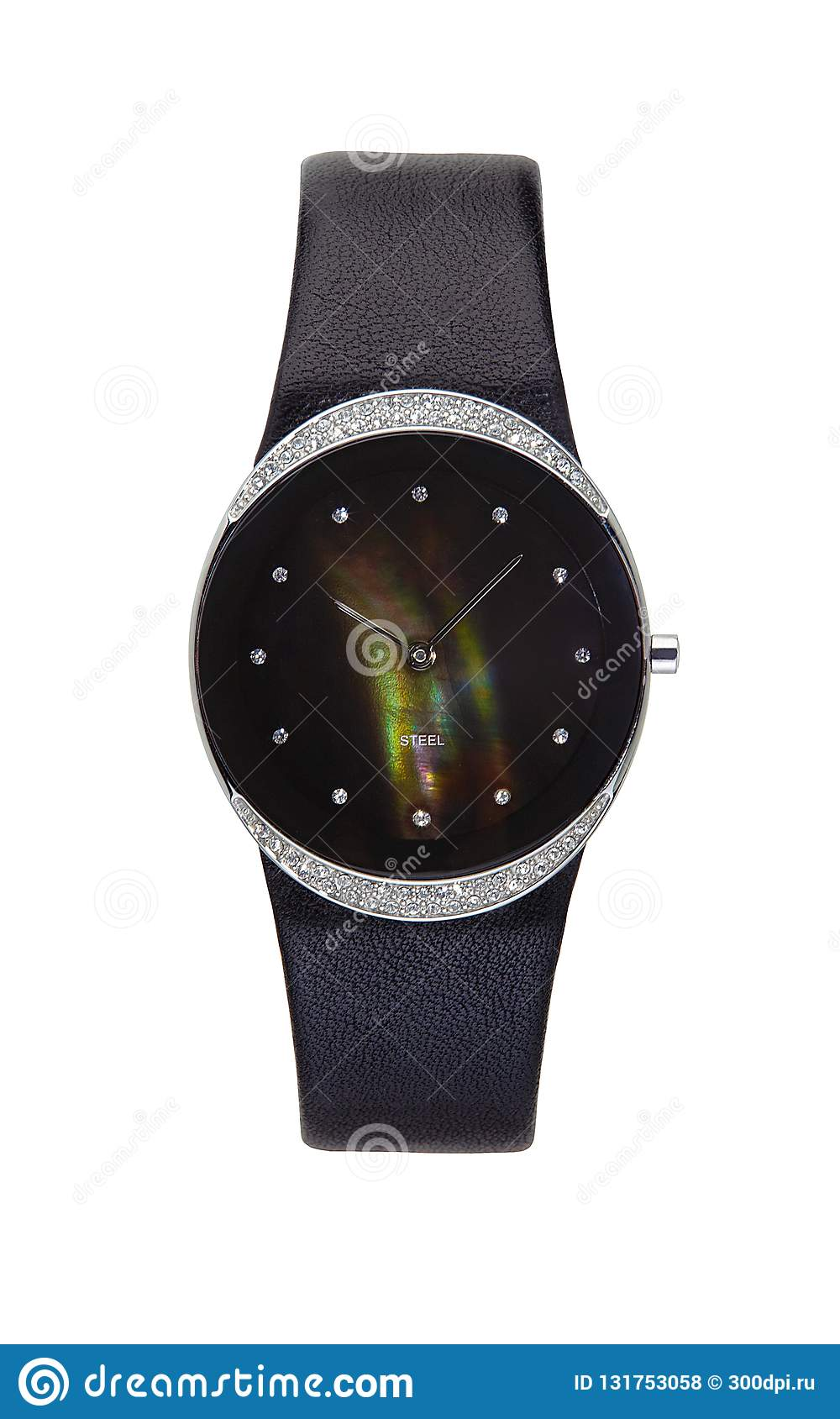 Silver wrist watch isolated round