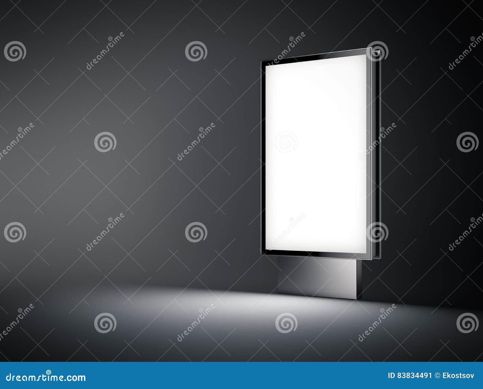 Silveraffischtavla med den vita skärmen i mörkret framförande 3d