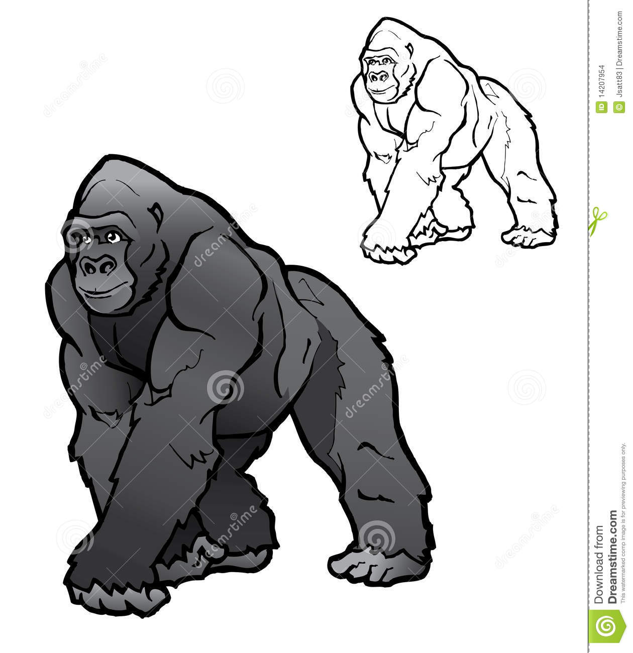 Silverback Gorilla Illustration Stock Images - Image: 14207954