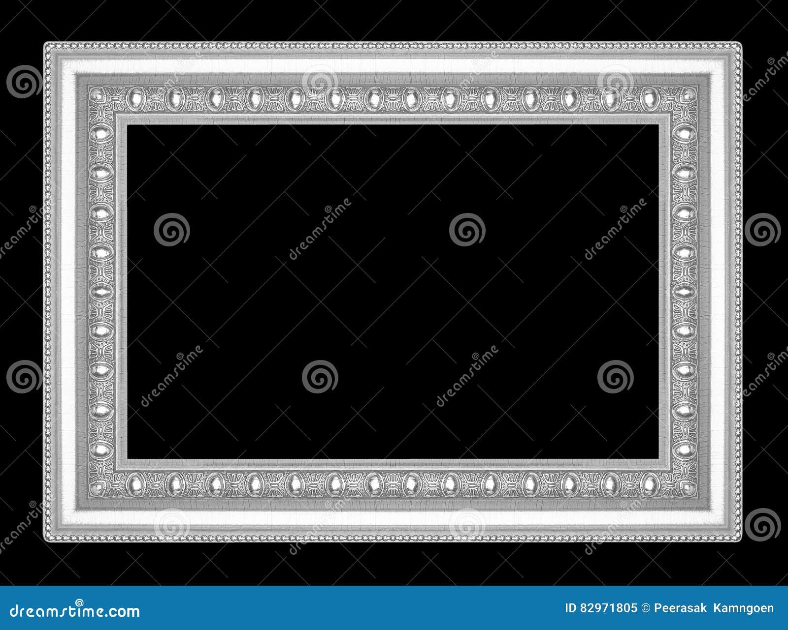 Silverbildram som isoleras på svart bakgrund
