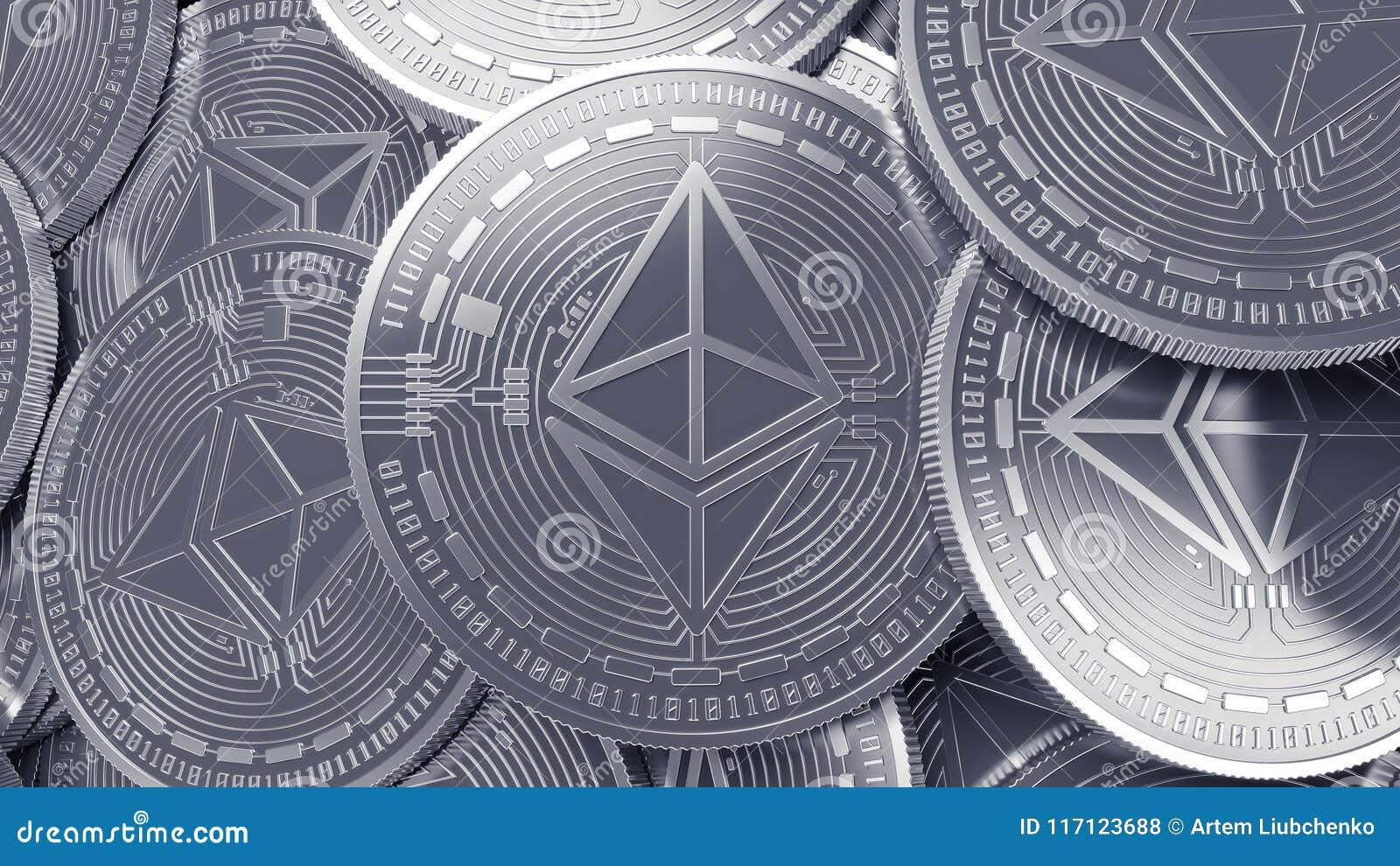 SilverEthereum cryptocurrency som bryter begreppsbakgrund
