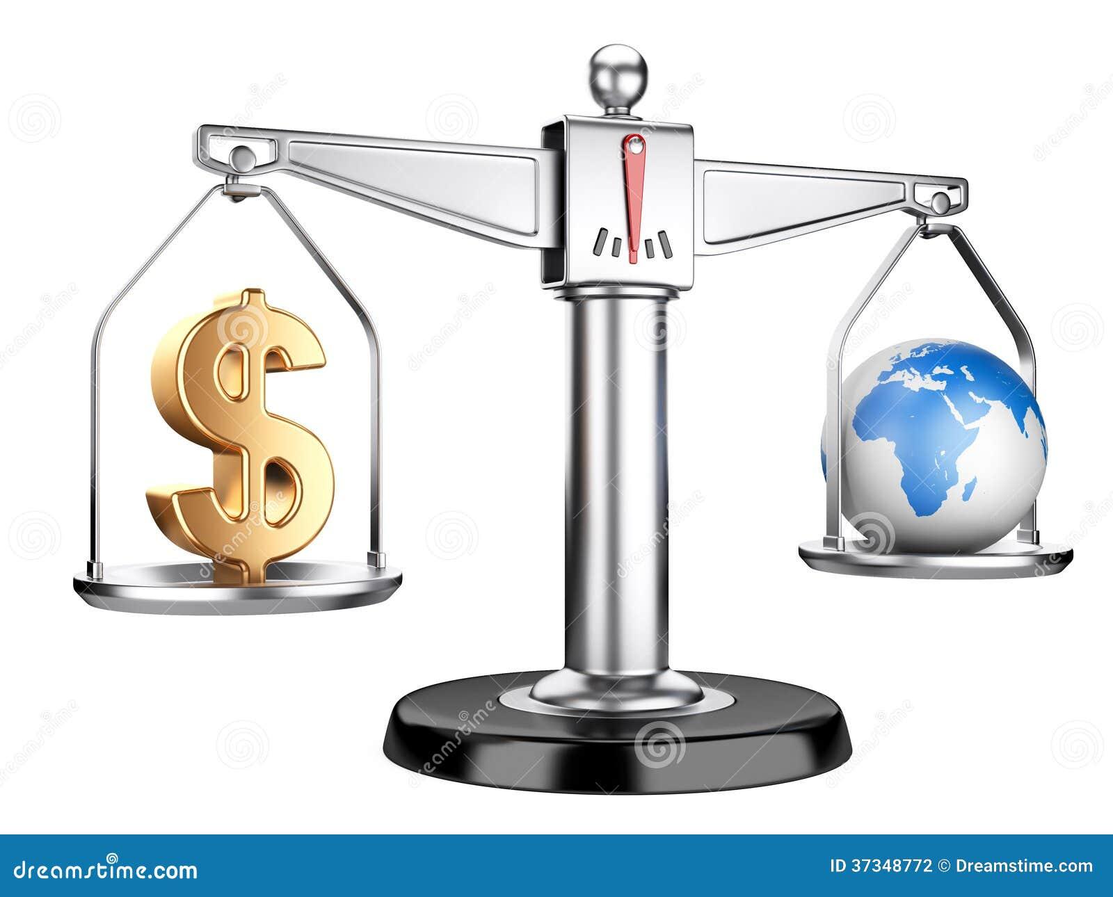 Silvervåg med dollartecknet och jord