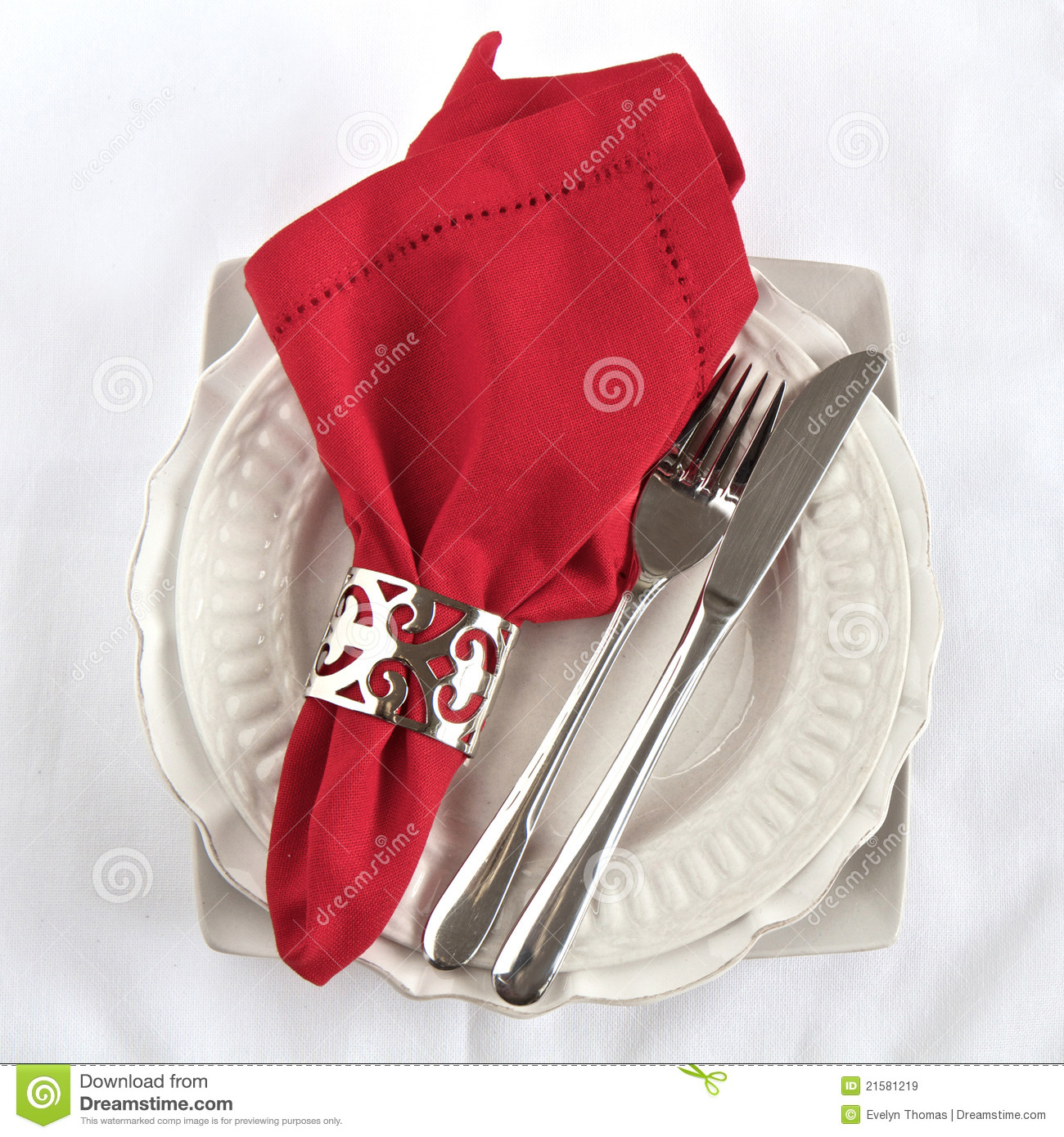 Silverware As A Table Setting With Red Napkin Royalty Free