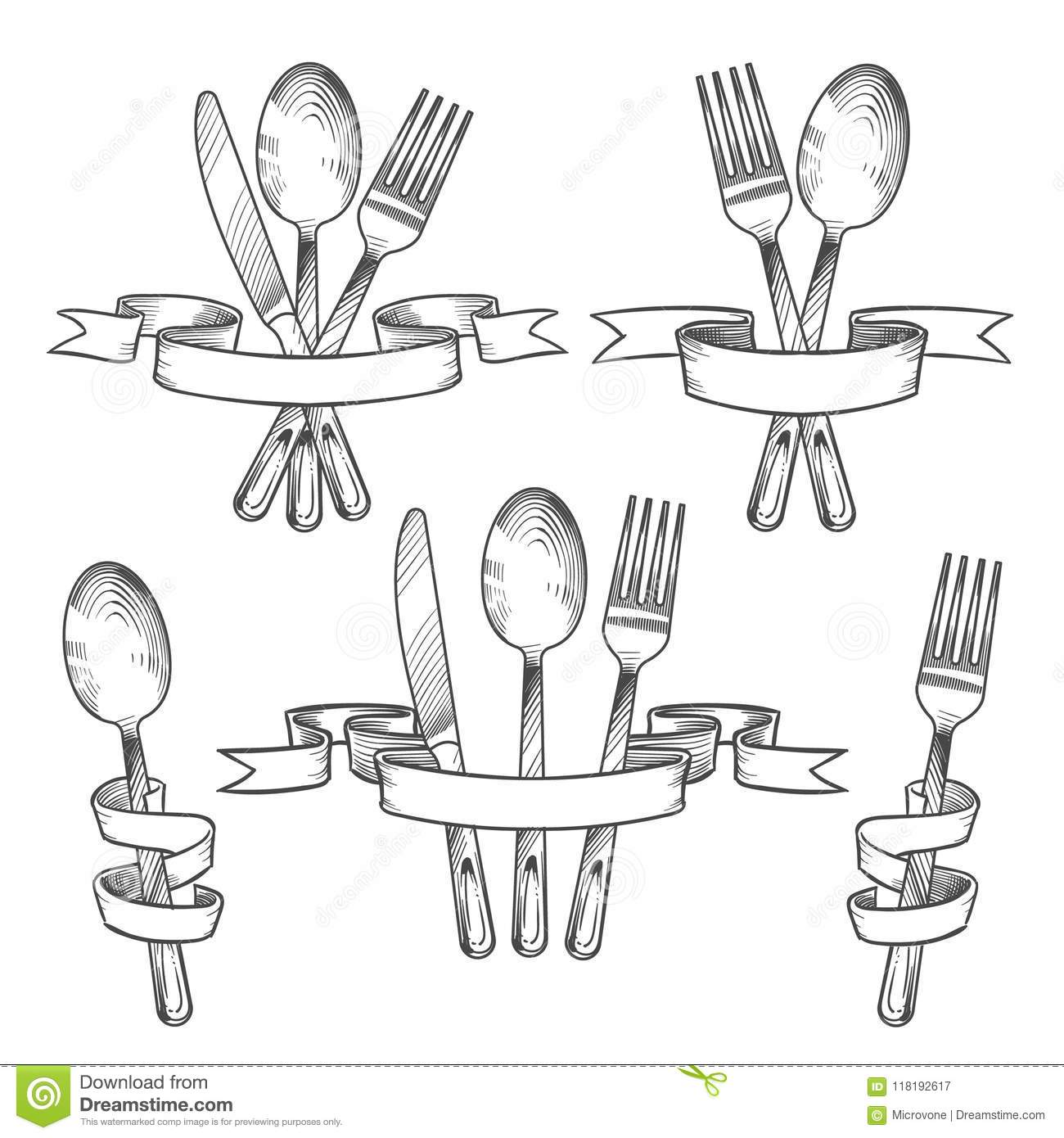 Silverware, Cutlery, Dinner Table Utensils. Knife, Spoon And Fork In ...