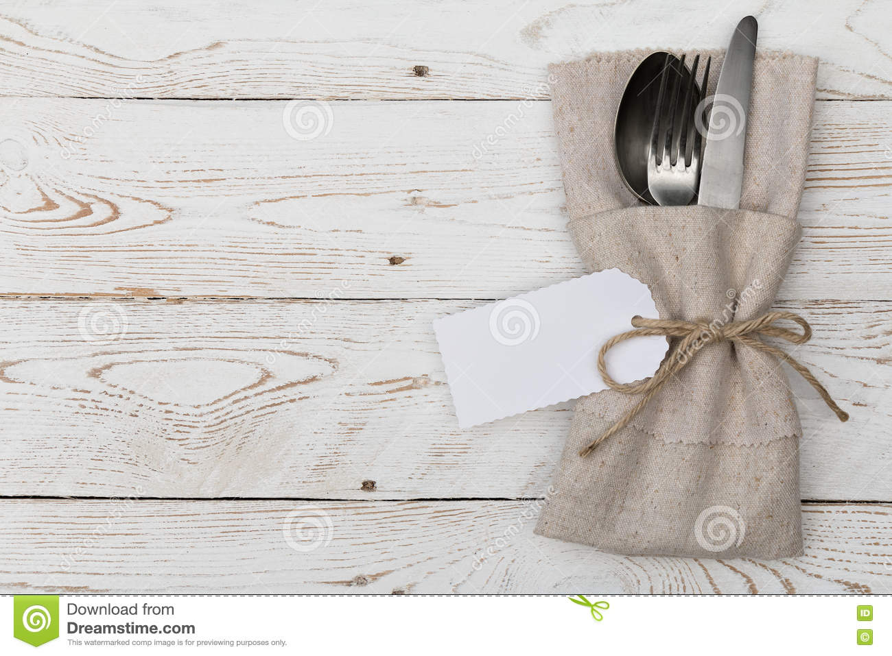 Silverware With An Empty Tag On A Table Stock Photo Image Of Napkin Dish 72661498