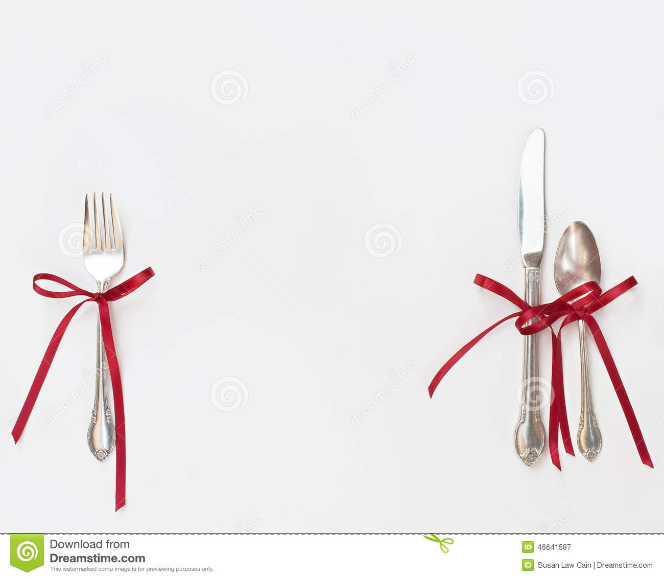 Silverware With Red Bows Stock Photo Image 46641587