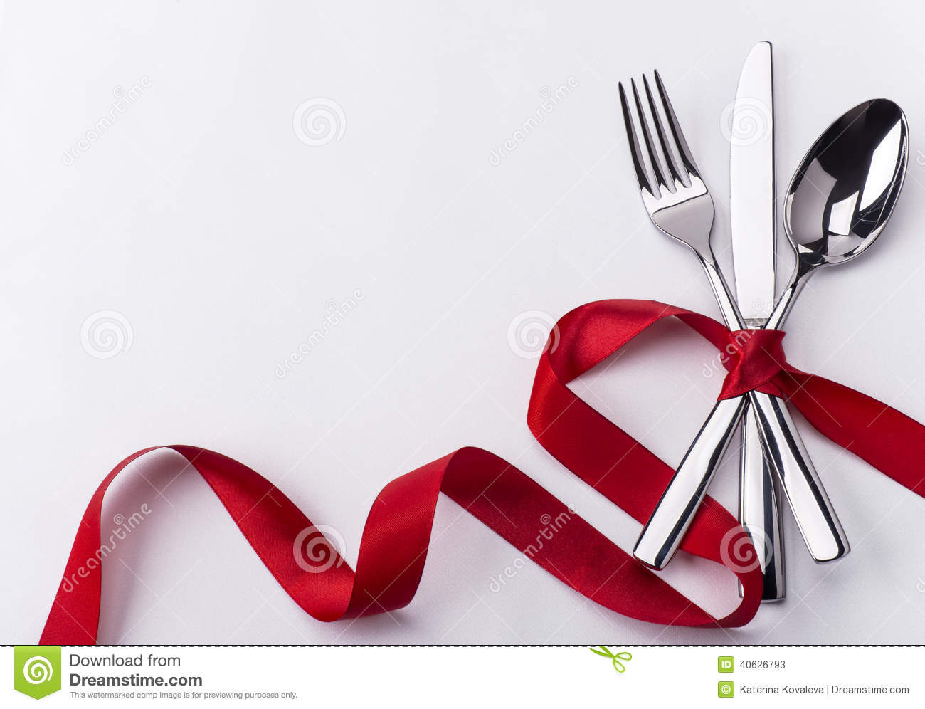 Silverware Set For Valentines Day Stock Image Image Of