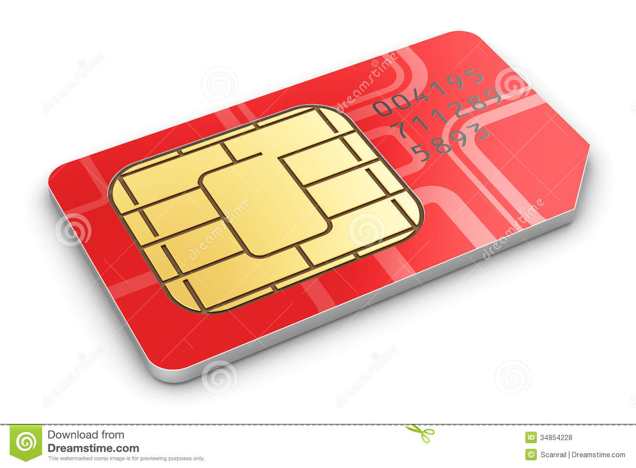 Creative Abstract Mobile Telecommunication Wireless Technology And Mobility Business Concept Macro View Of Single Red SIM Card For Phone Or