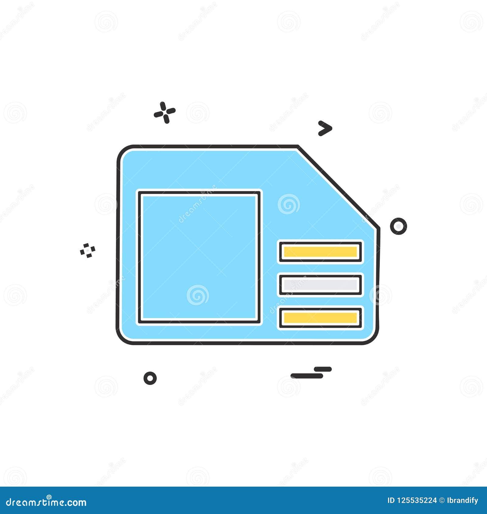 Sim Card Icon Design Vector Stock Vector - Illustration of