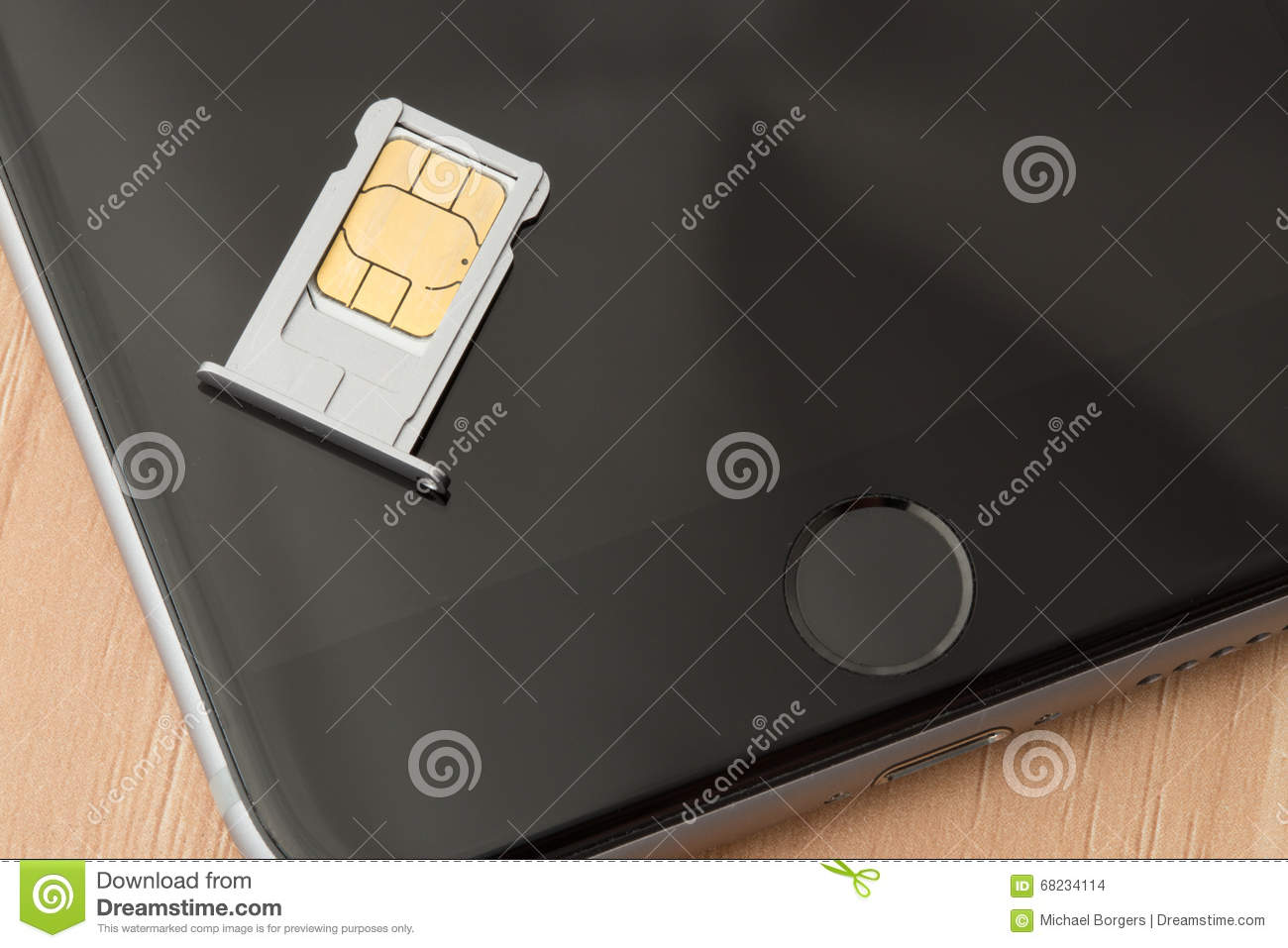 Sim card on iPhone 6 stock photo  Image of number, dial