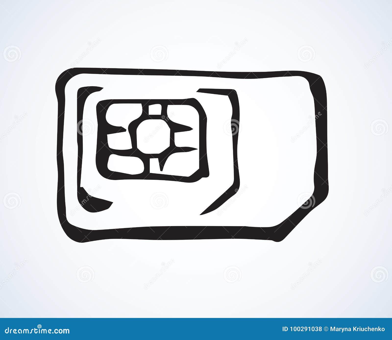 SIM card  Vector drawing stock vector  Illustration of
