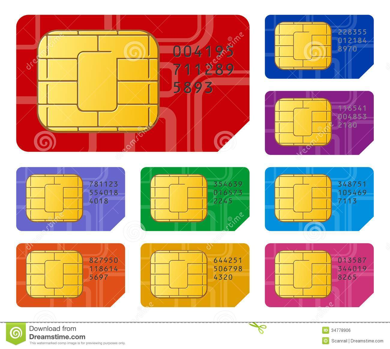 SIM cards stock vector. Illustration of chip, icon, cellphone - 34778906