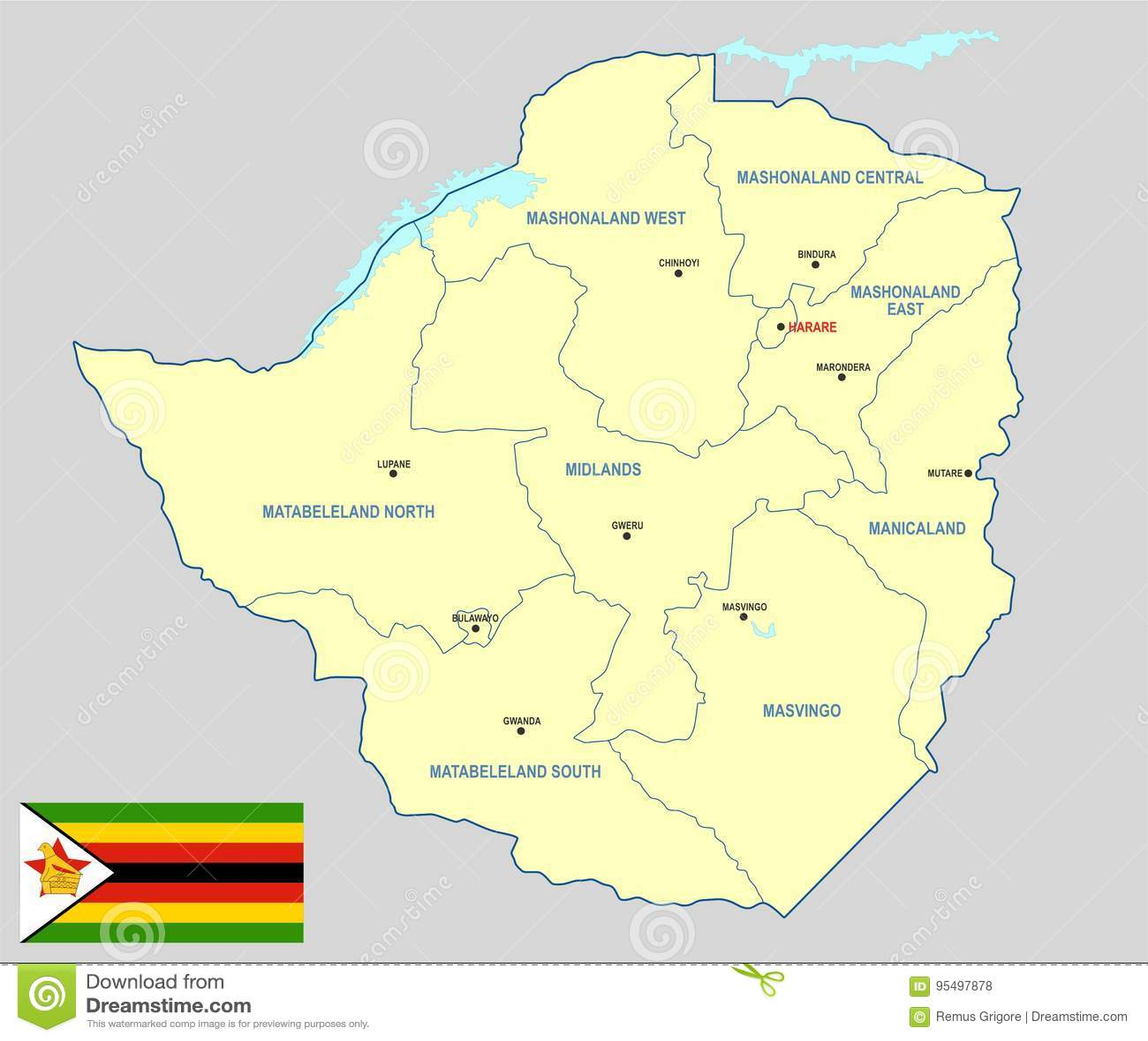 simbabwe karte Simbabwe Karte vektor abbildung. Illustration von seen   95497878