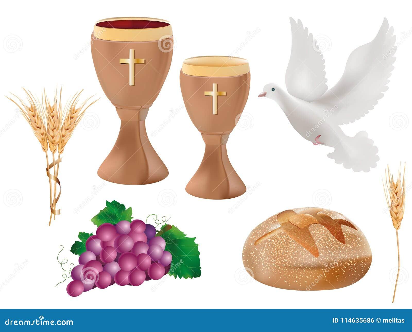 Simboli cristiani isolati realistici dell illustrazione 3d: calice di legno con vino, colomba, uva, pane, orecchio di grano